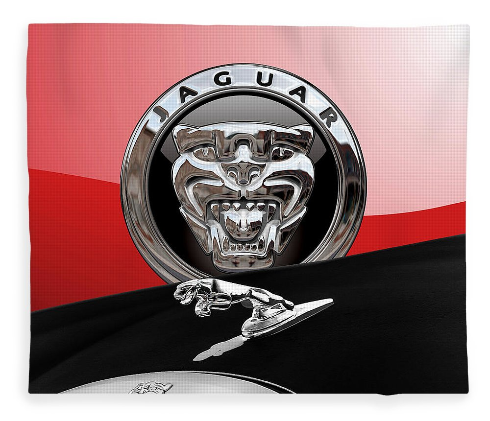 'auto Badges' Collection By Serge Averbukh Fleece Blanket featuring the photograph Black Jaguar - Hood Ornaments And 3 D Badge On Red by Serge Averbukh