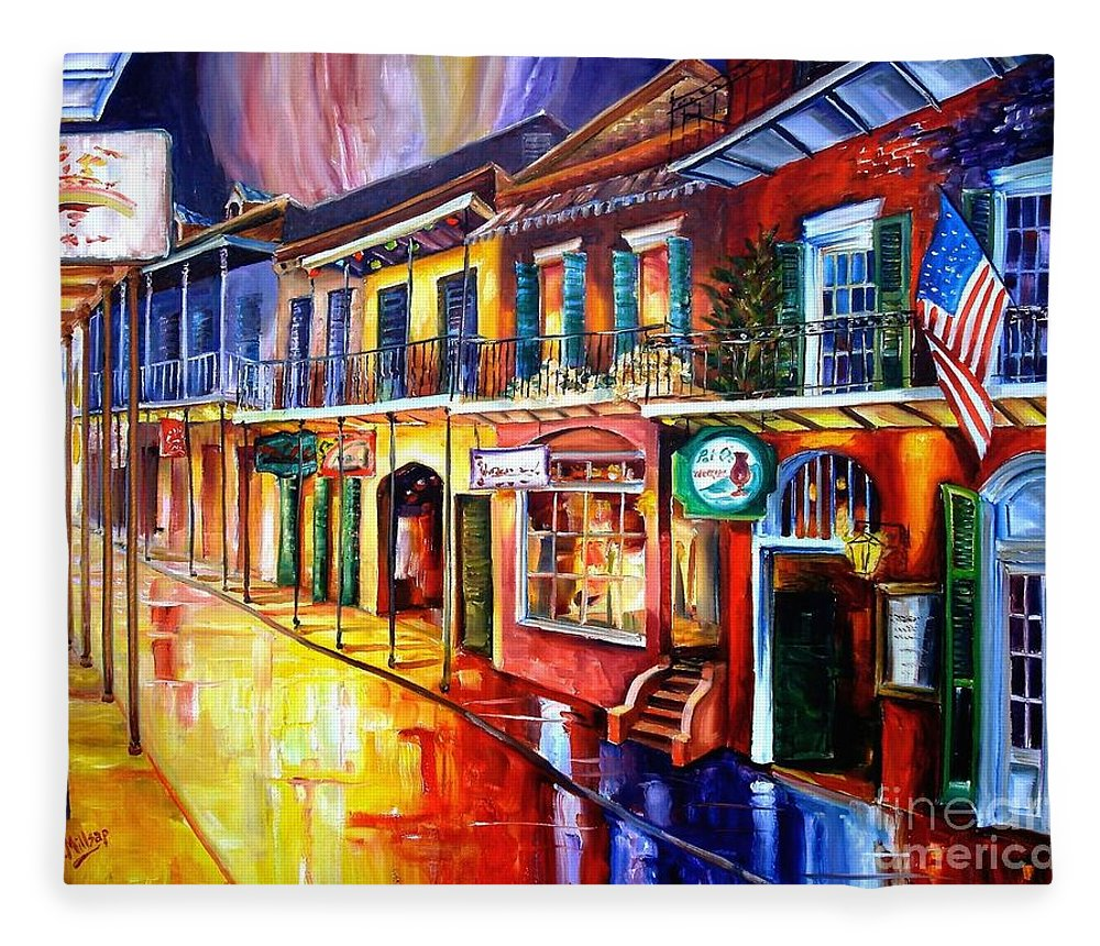New Orleans Fleece Blanket featuring the painting Bourbon Street Red by Diane Millsap