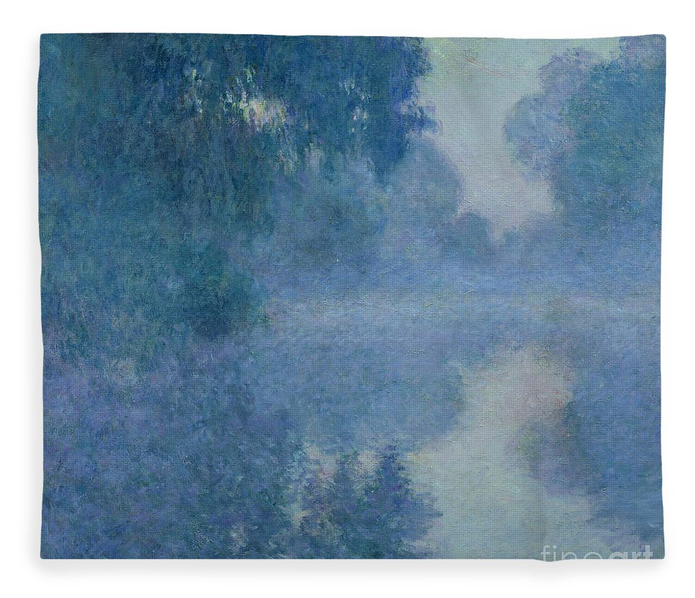 Impressionist; River; Reflection; Fog; Foggy; Misty; Mist; Branch; Seine; Giverny; Claude Monet; Monet; Tree; Trees Fleece Blanket featuring the painting Branch of the Seine near Giverny by Claude Monet