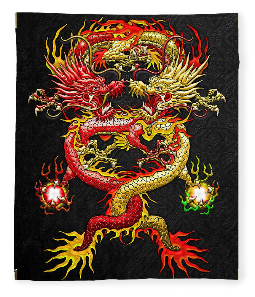 �treasures Of Asia� Collection By Serge Averbukh Fleece Blanket featuring the photograph Brotherhood of the Snake - The Red and The Yellow Dragons by Serge Averbukh