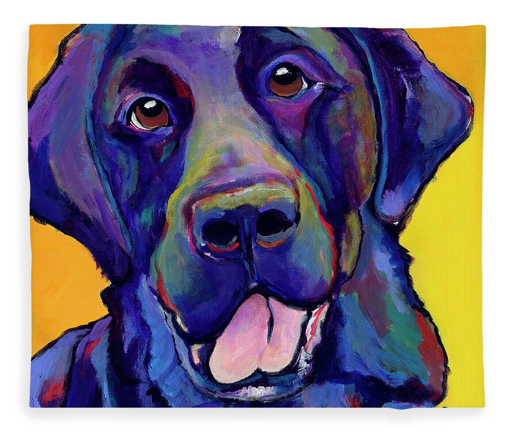 Labrador Rertrievers Fleece Blanket featuring the painting Buddy by Pat Saunders-White