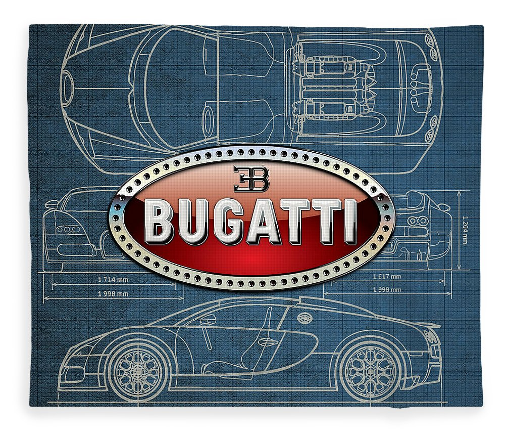 �wheels Of Fortune� By Serge Averbukh Fleece Blanket featuring the photograph Bugatti 3 D Badge over Bugatti Veyron Grand Sport Blueprint by Serge Averbukh