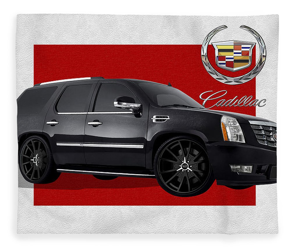 �cadillac� By Serge Averbukh Fleece Blanket featuring the photograph Cadillac Escalade With 3 D Badge by Serge Averbukh