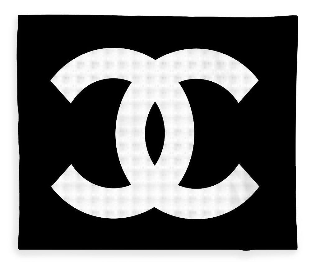 Chanel Fleece Blanket featuring the digital art Chanel Symbol by Edit Voros