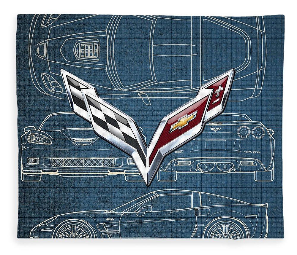 �wheels Of Fortune� By Serge Averbukh Fleece Blanket featuring the photograph Chevrolet Corvette 3 D Badge over Corvette C 6 Z R 1 Blueprint by Serge Averbukh