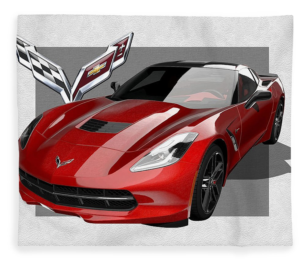 �chevrolet Corvette� By Serge Averbukh Fleece Blanket featuring the photograph Chevrolet Corvette C 7 Stingray with 3 D Badge by Serge Averbukh