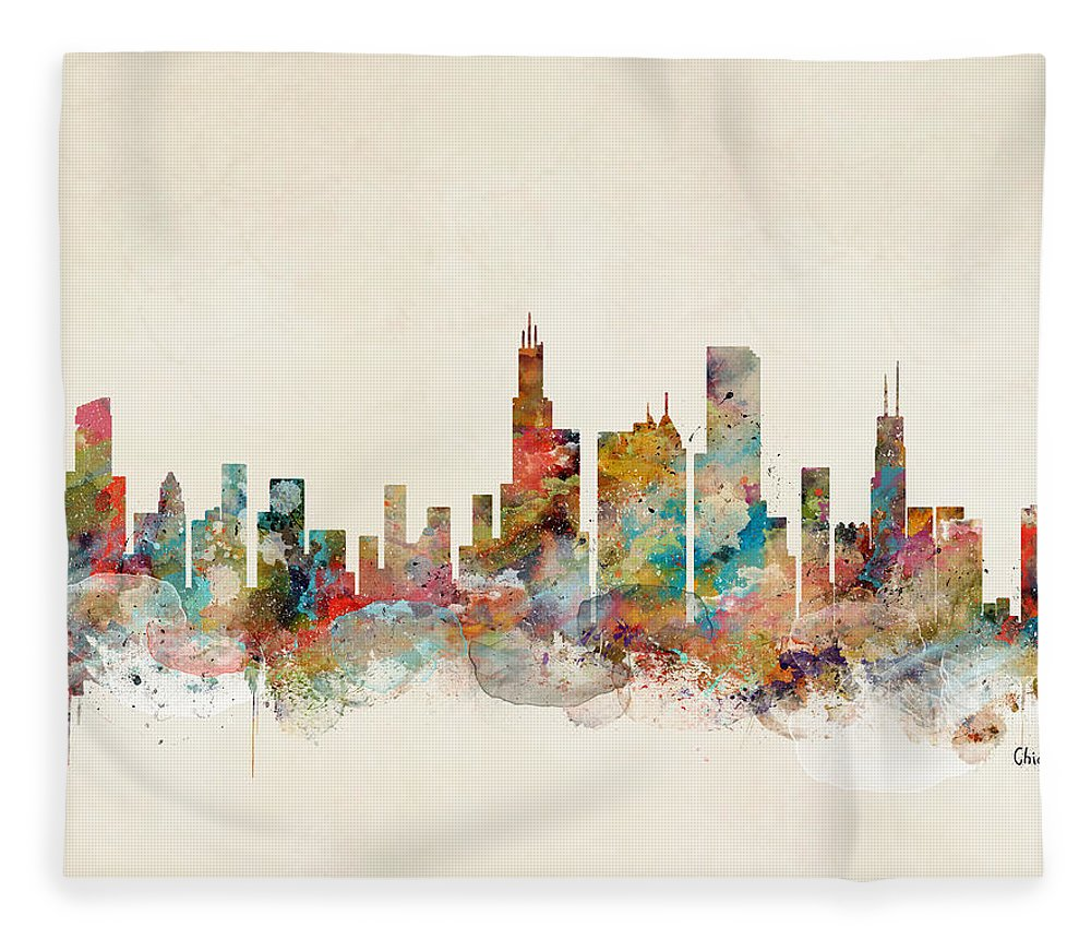 Chicago City Skyline Fleece Blanket featuring the painting Chicago Illinois Skyline by Bri Buckley