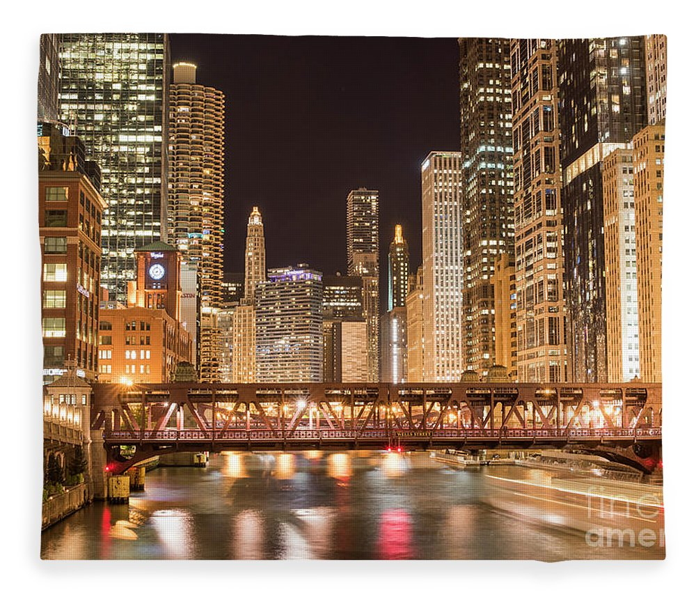 America Fleece Blanket featuring the photograph Chicago by Juli Scalzi