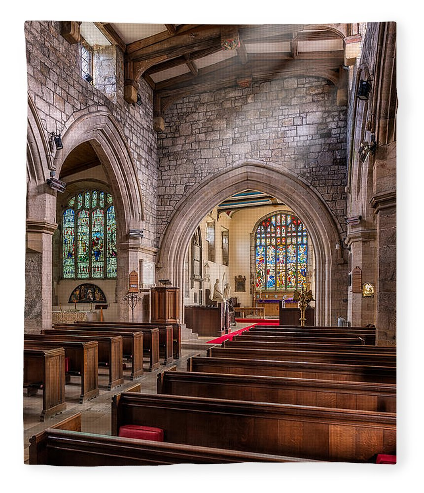 Ancient Chapel Fleece Blanket featuring the photograph Church Light by Adrian Evans
