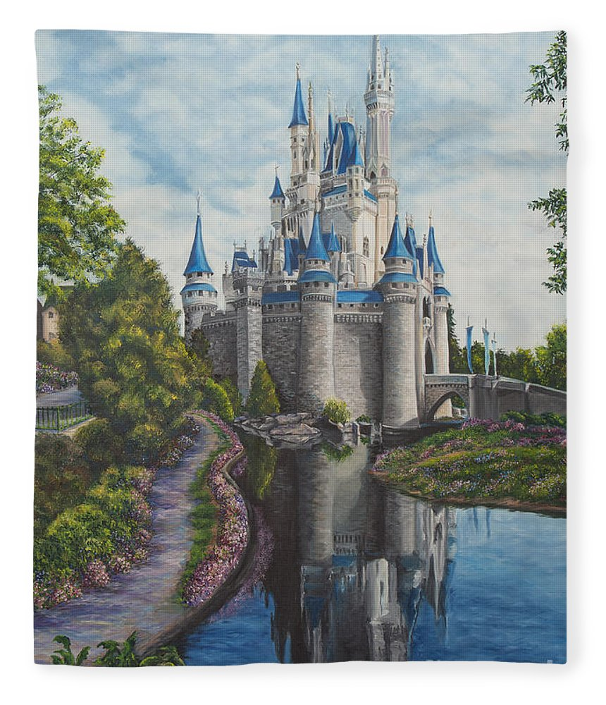 Disney Art Fleece Blanket featuring the painting Cinderella Castle by Charlotte Blanchard