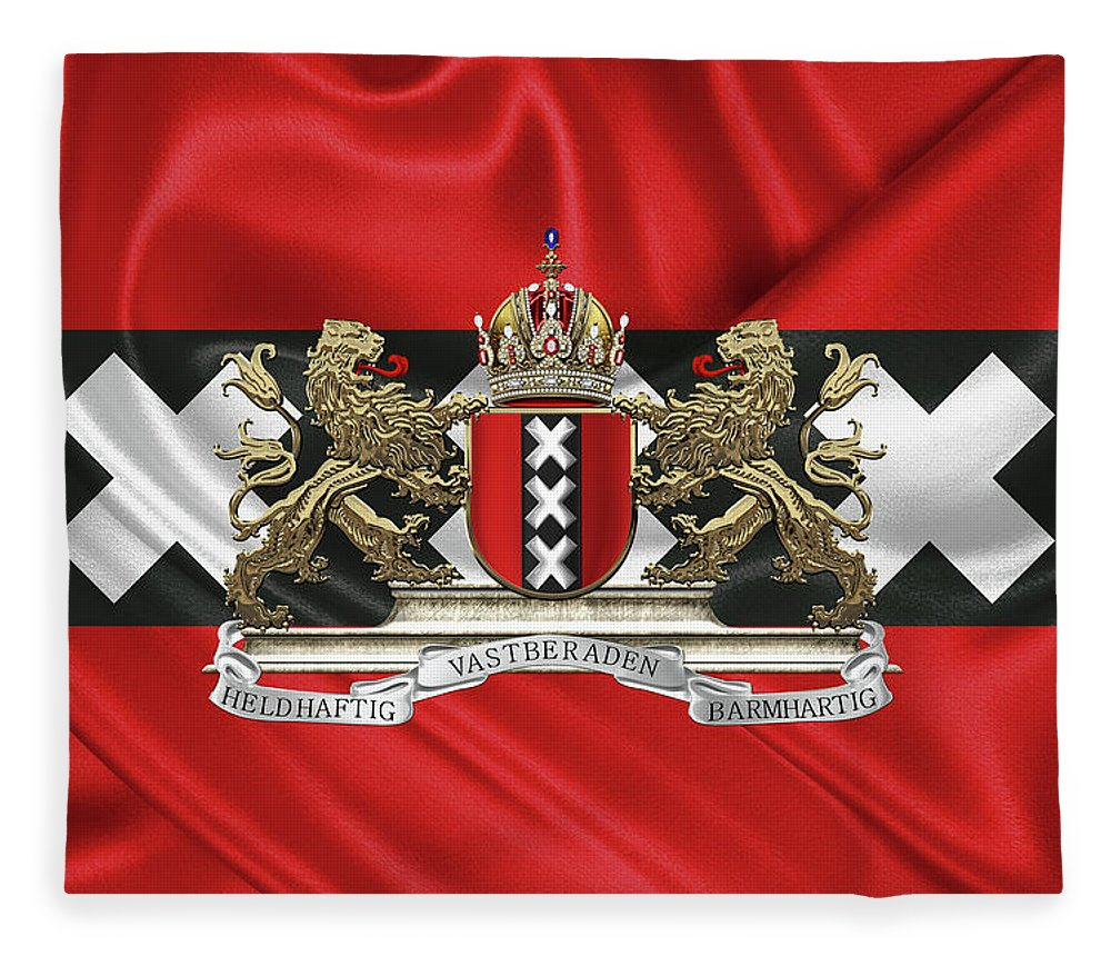'cities Of The World' Collection By Serge Averbukh Fleece Blanket featuring the photograph Coat Of Arms Of Amsterdam Over Flag Of Amsterdam by Serge Averbukh
