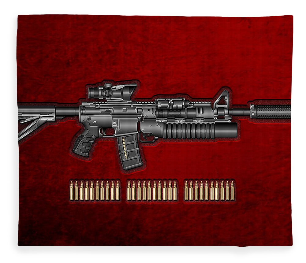 �the Armory� By Serge Averbukh Fleece Blanket featuring the photograph Colt M 4 A 1 S O P M O D Carbine With 5.56 N A T O Rounds On Red Velvet by Serge Averbukh