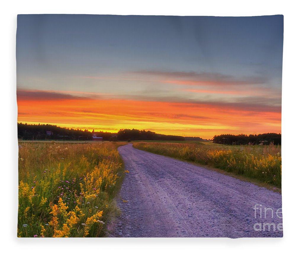 Atmosphere Fleece Blanket featuring the photograph Country Road by Veikko Suikkanen
