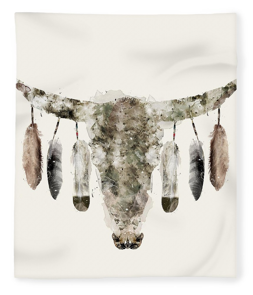Cow Skull Fleece Blanket featuring the painting Cow Skull by Bri Buckley