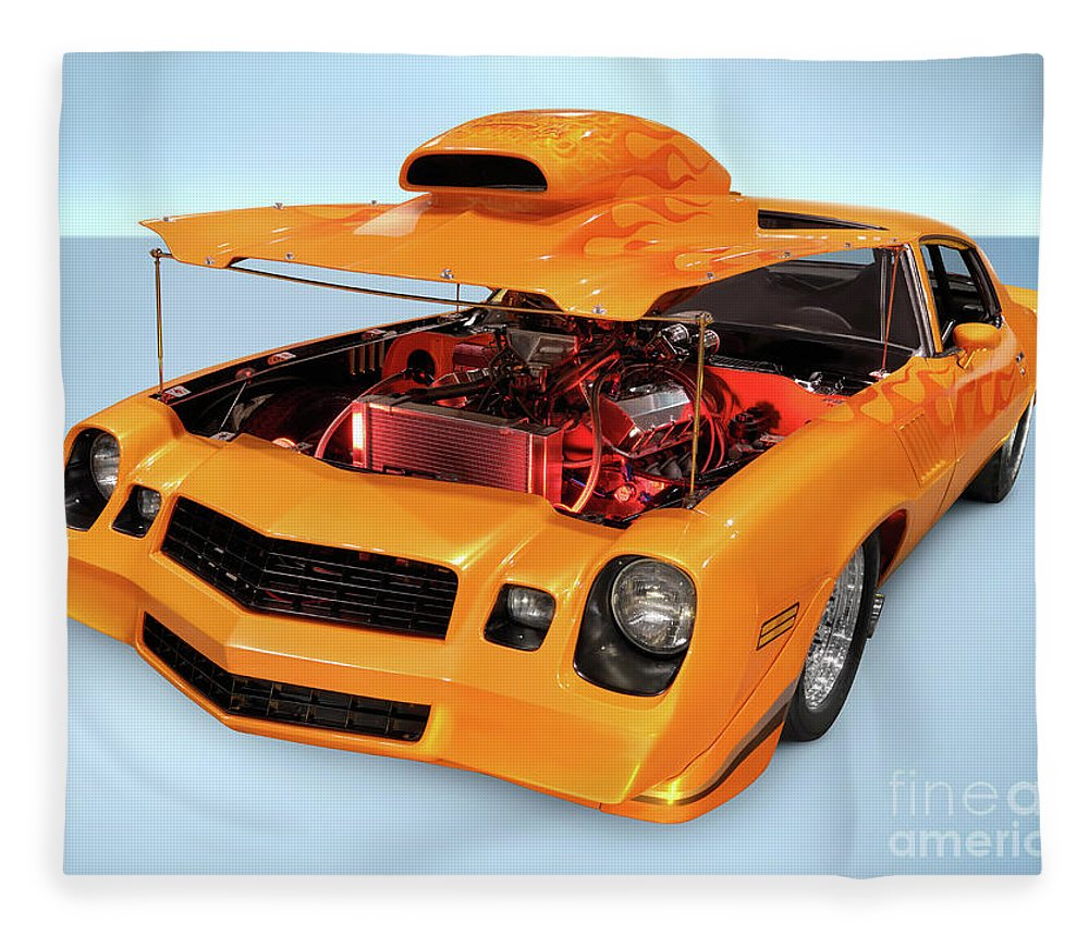 Car Fleece Blanket featuring the photograph Custom Muscle Car by Maxim Images Prints