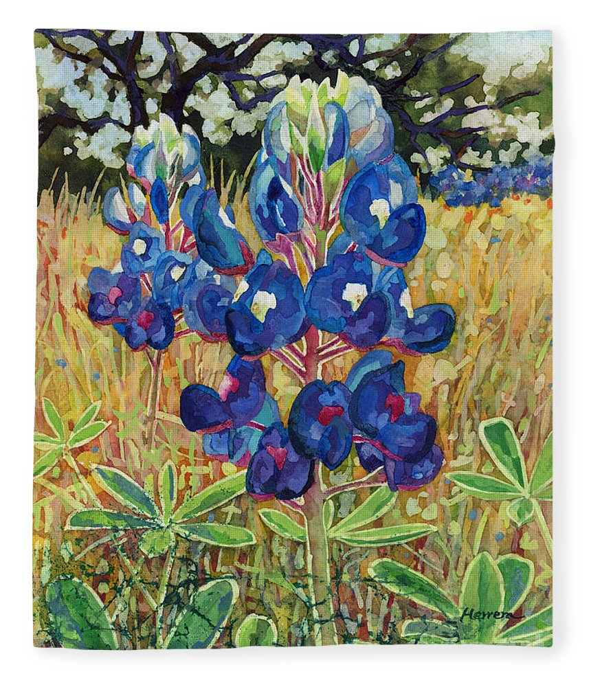 Bluebonnet Fleece Blanket featuring the painting Early Bloomers by Hailey E Herrera