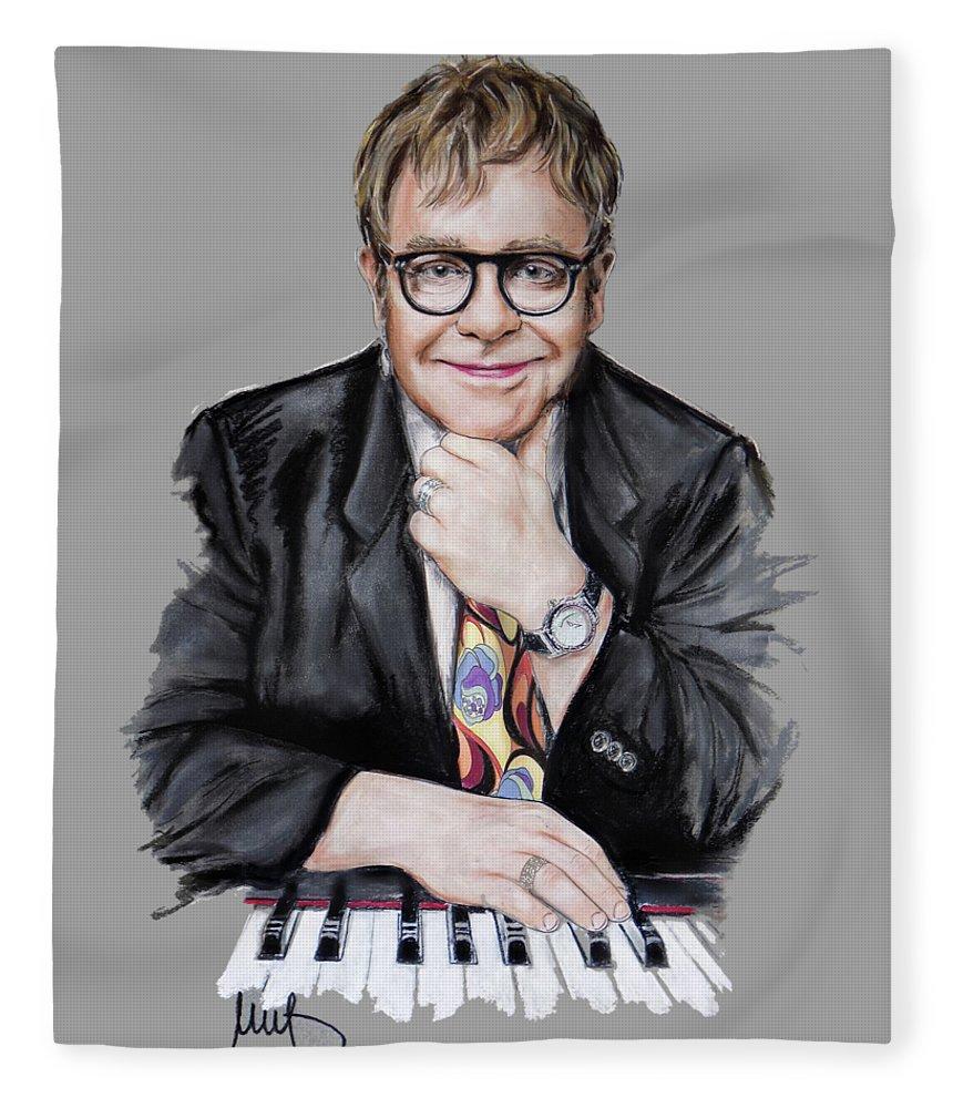 Elton John Fleece Blanket featuring the painting Elton John by Melanie D