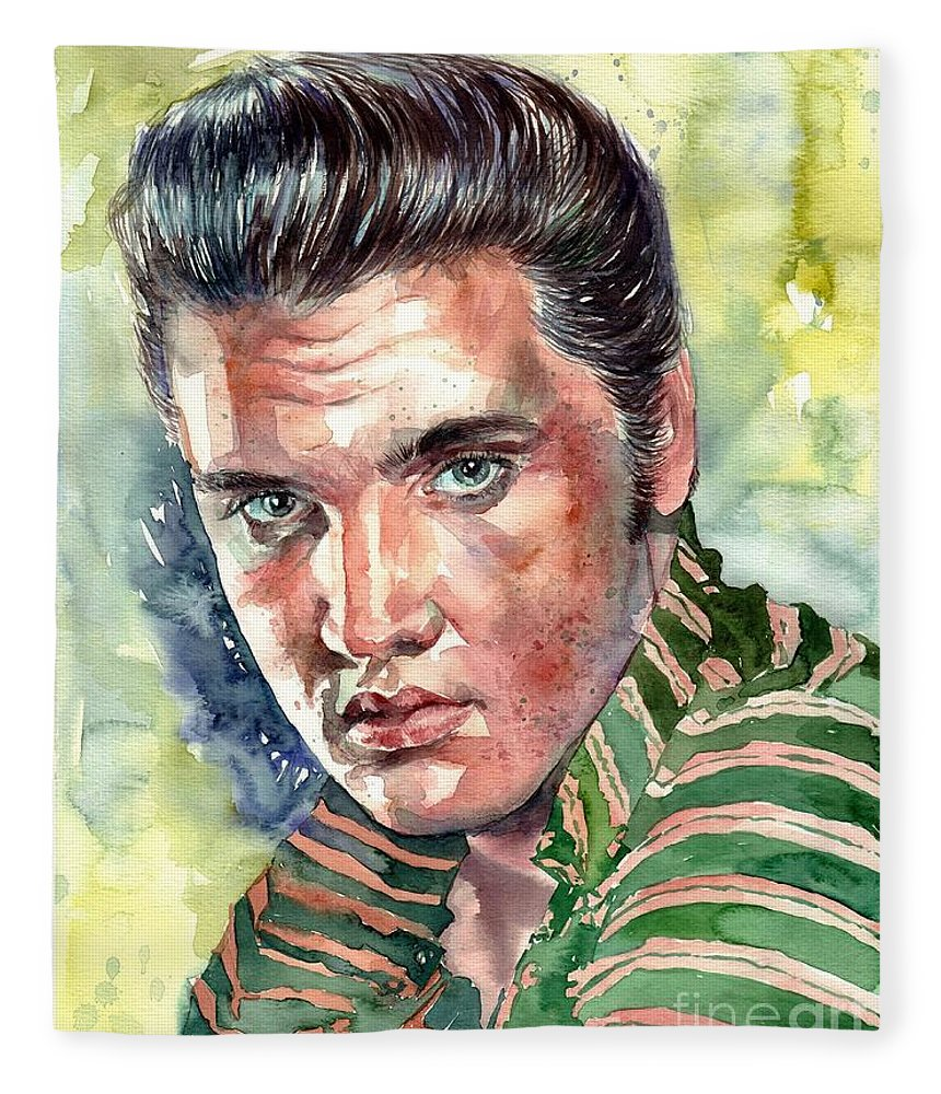 Elvis Fleece Blanket featuring the painting Elvis Presley Portrait by Suzann Sines
