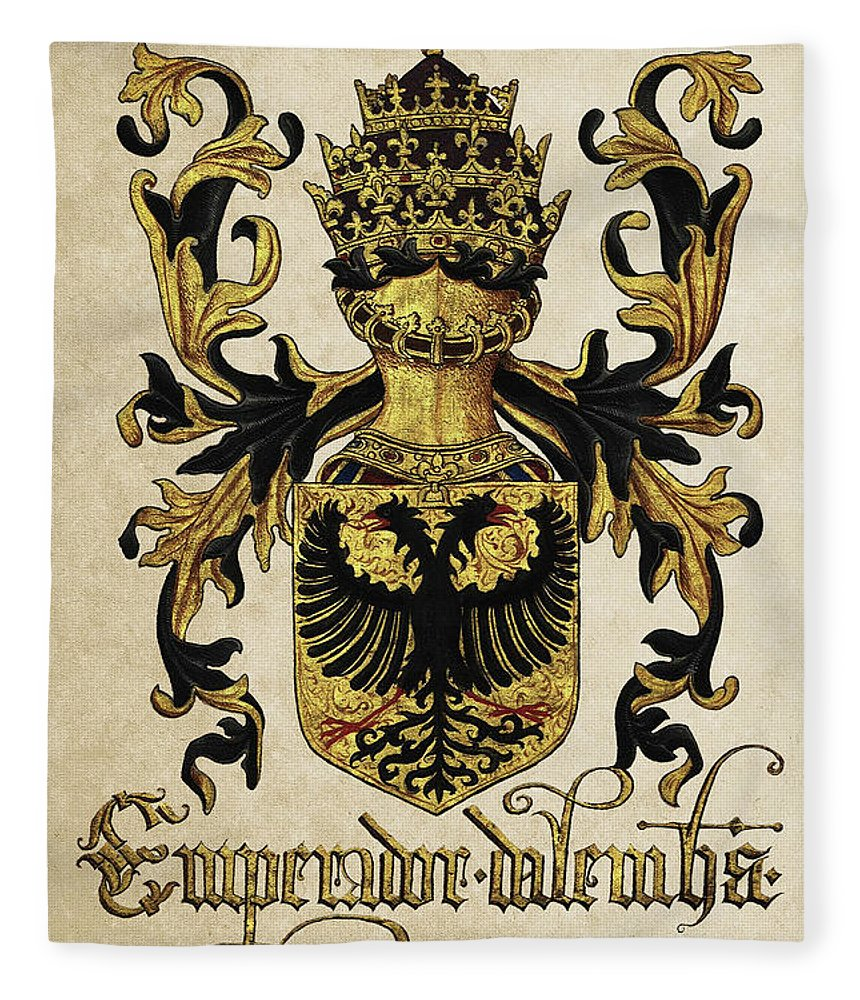 'roll Of Arms� Collection By Serge Averbukh Fleece Blanket featuring the photograph Emperor Of Germany Coat Of Arms - Livro Do Armeiro-mor by Serge Averbukh