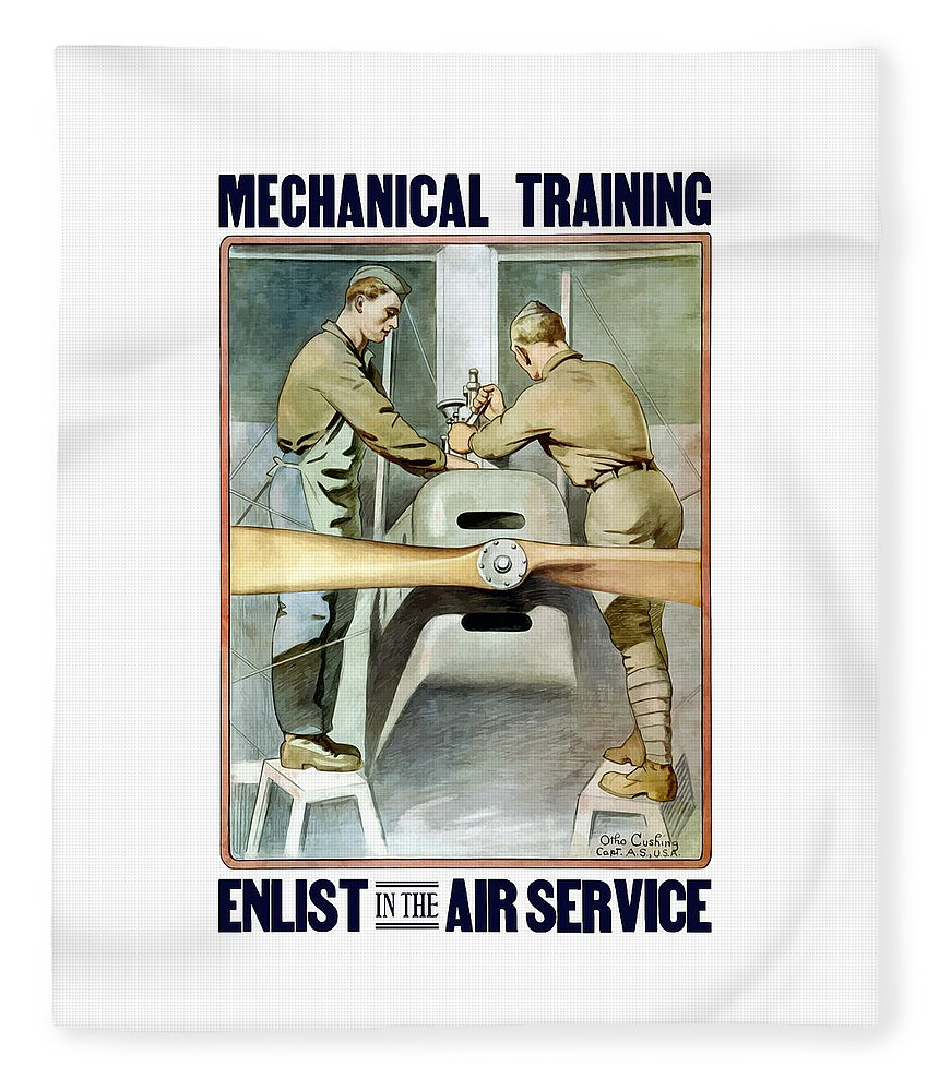 Ww1 Fleece Blanket featuring the painting Mechanical Training - Enlist In The Air Service by War Is Hell Store