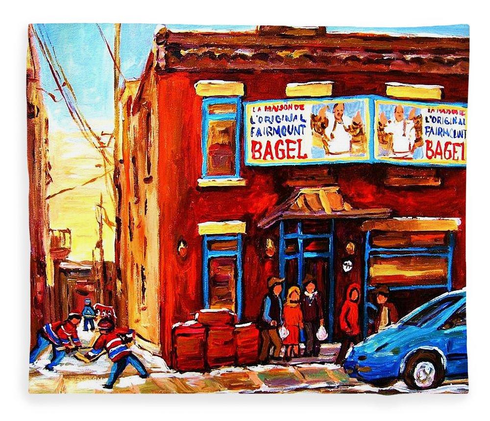 Hockey Fleece Blanket featuring the painting Fairmount Bagel In Winter by Carole Spandau