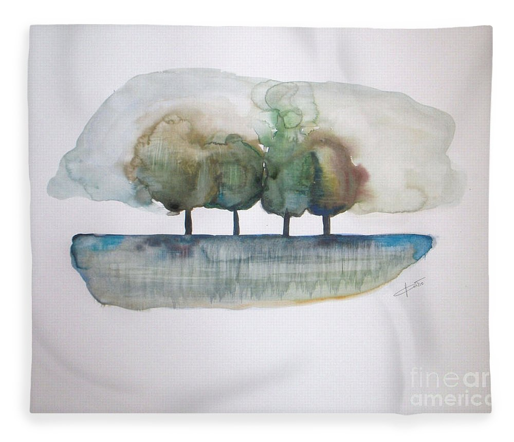 Trees Fleece Blanket featuring the painting Family Trees by Vesna Antic