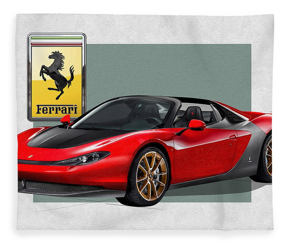 �ferrari� Collection By Serge Averbukh Fleece Blanket featuring the photograph Ferrari Sergio With 3d Badge by Serge Averbukh