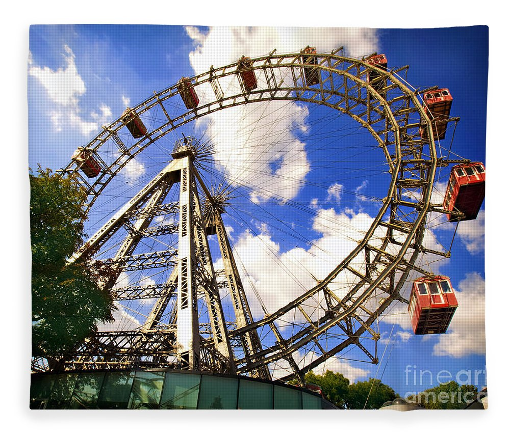 Ferris Wheel Fleece Blanket featuring the photograph Ferris Wheel At The Prater by Madeline Ellis
