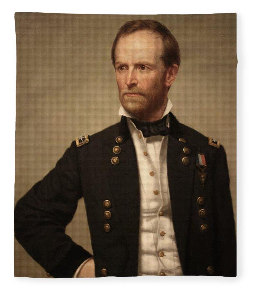 General Sherman Fleece Blanket featuring the painting General William Tecumseh Sherman 2 by War Is Hell Store