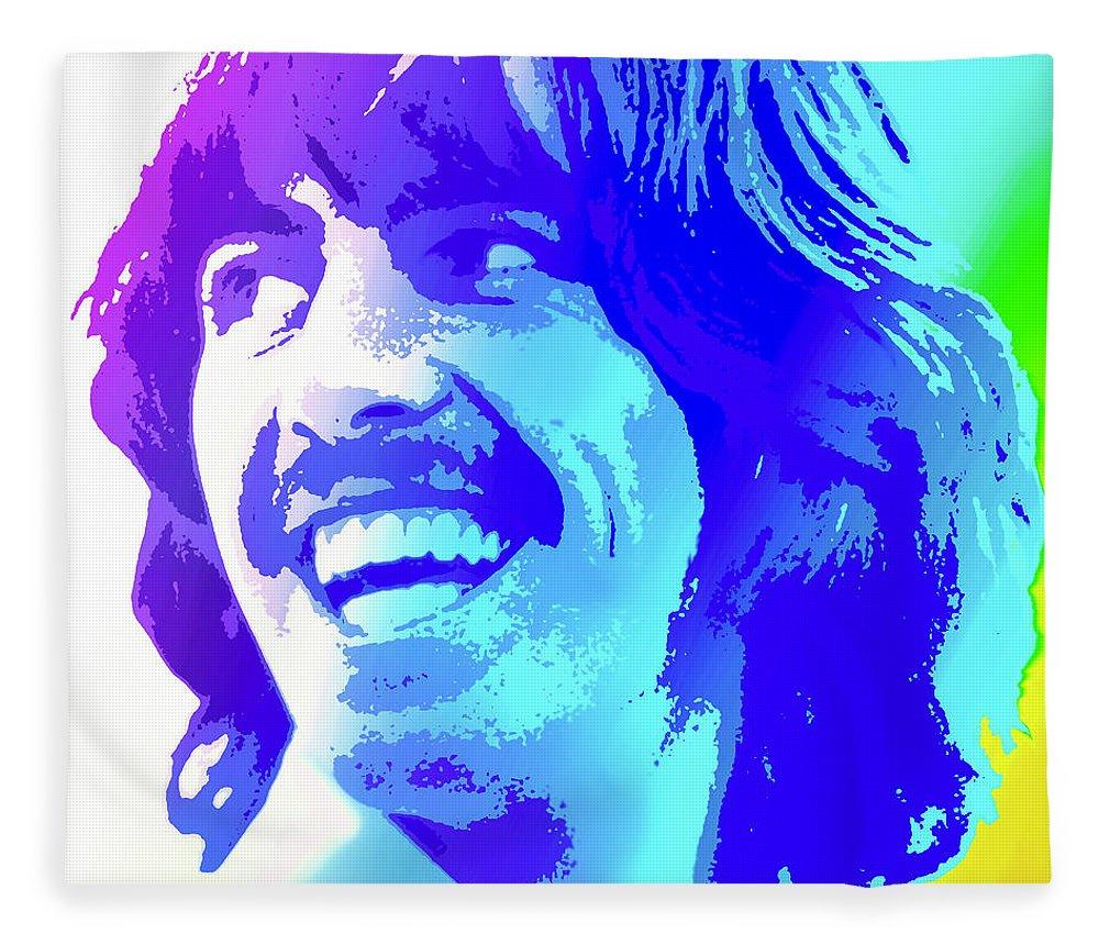 George Harrison Fleece Blanket featuring the digital art George Harrison by Greg Joens