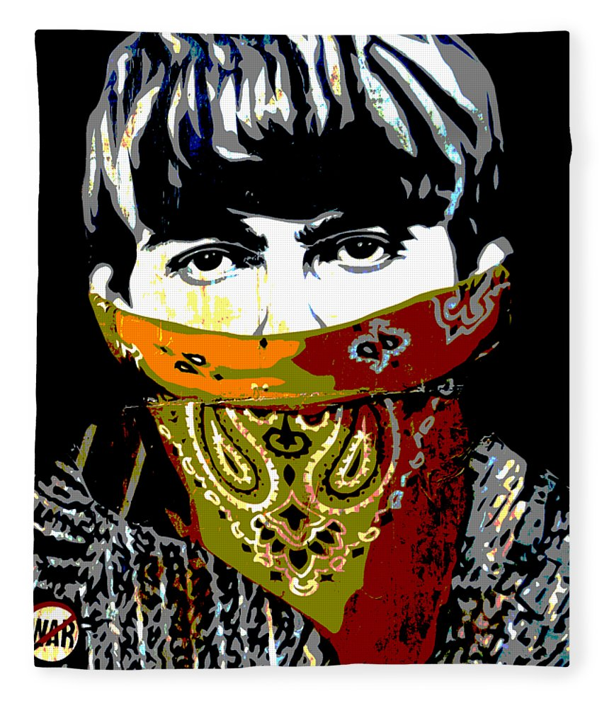 Banksy Fleece Blanket featuring the photograph George Harrison wearing a face mask by RicardMN Photography