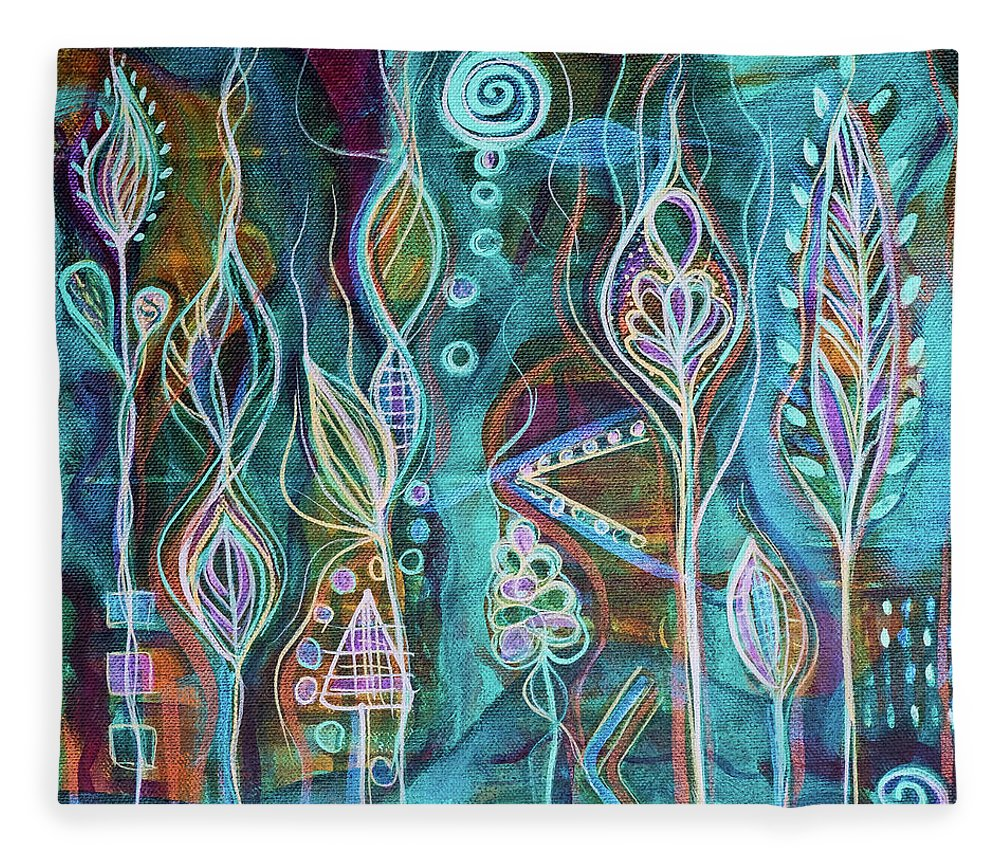Intuitive Art Fleece Blanket featuring the painting Glow by Angel Fritz
