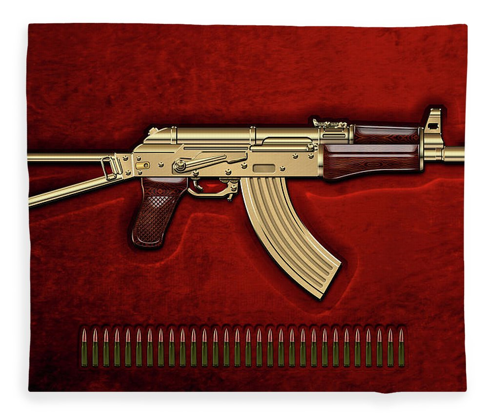 'the Armory' Collection By Serge Averbukh Fleece Blanket featuring the photograph Gold A K S-74 U Assault Rifle With 5.45x39 Rounds Over Red Velvet  by Serge Averbukh