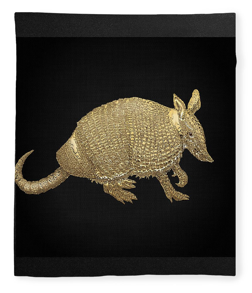 'beasts Creatures And Critters' Collection By Serge Averbukh Fleece Blanket featuring the photograph Gold Armadillo On Black Canvas by Serge Averbukh