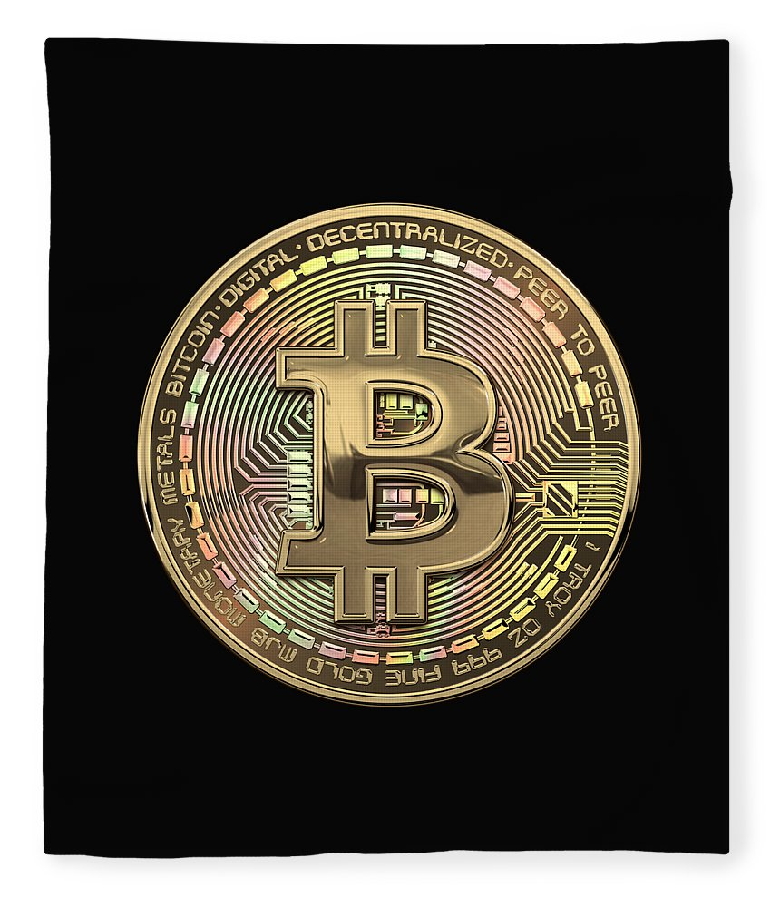 'money' Collection By Serge Averbukh Fleece Blanket featuring the photograph Gold Bitcoin Effigy Over Black Canvas by Serge Averbukh