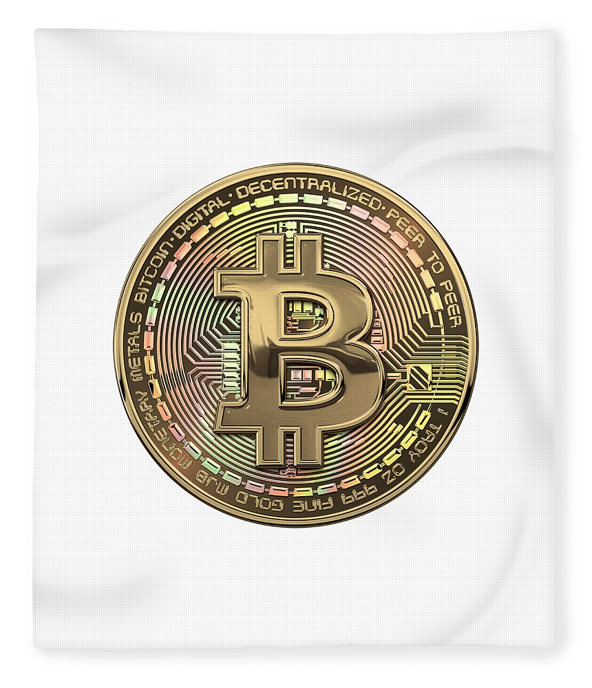 'money' Collection By Serge Averbukh Fleece Blanket featuring the photograph Gold Bitcoin Effigy Over White Leather by Serge Averbukh