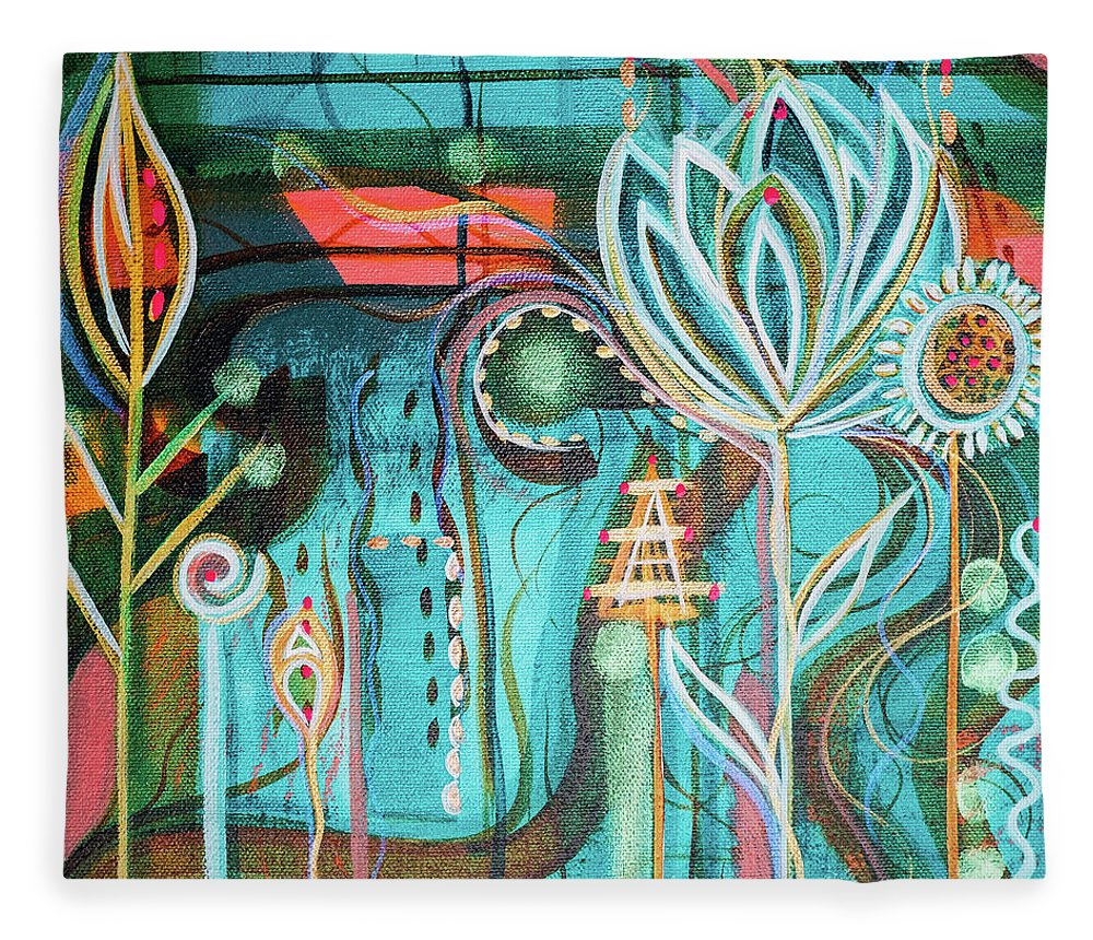 Intuitive Art Fleece Blanket featuring the painting Happy by Angel Fritz