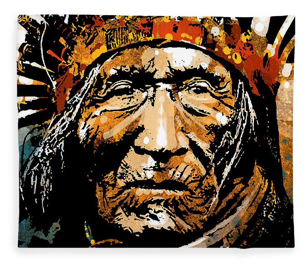 Native American Fleece Blanket featuring the painting He Dog by Paul Sachtleben