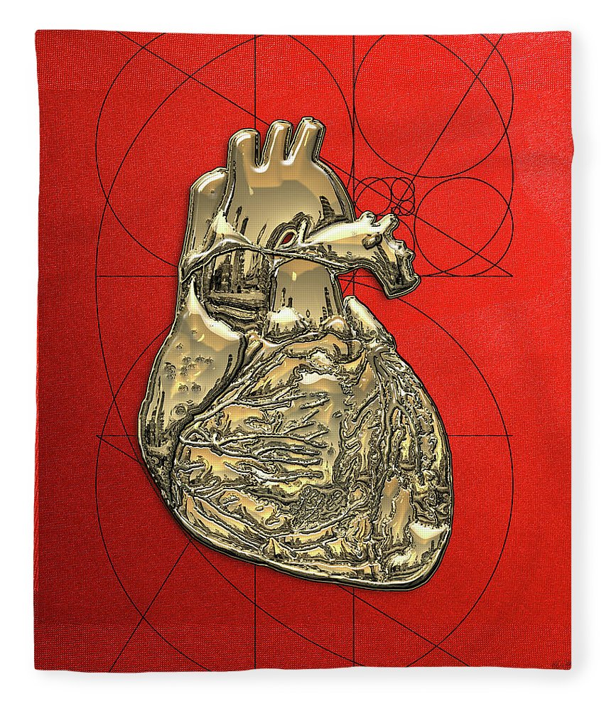 �inner Workings� Collection By Serge Averbukh Fleece Blanket featuring the photograph Heart Of Gold - Golden Human Heart On Red Canvas by Serge Averbukh