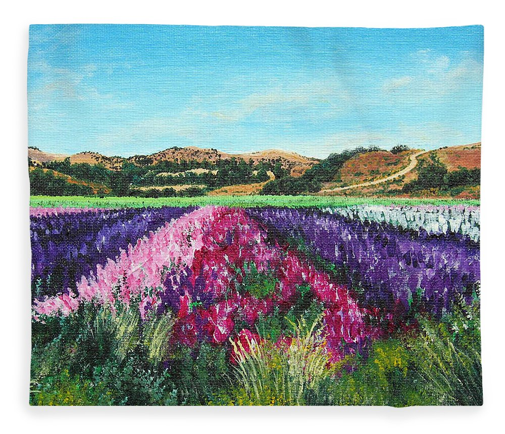 Highway 246 Fleece Blanket featuring the painting Highway 246 Flowers 3 by Angie Hamlin