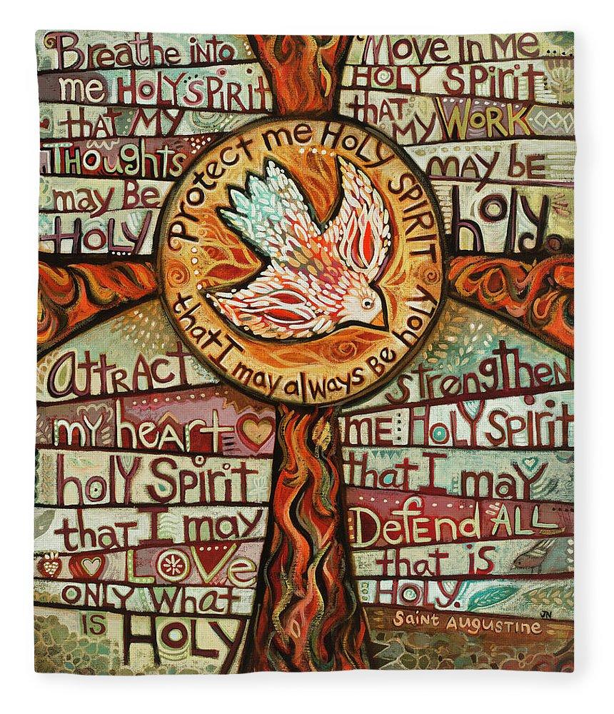 Jen Norton Fleece Blanket featuring the painting Holy Spirit Prayer by St. Augustine by Jen Norton