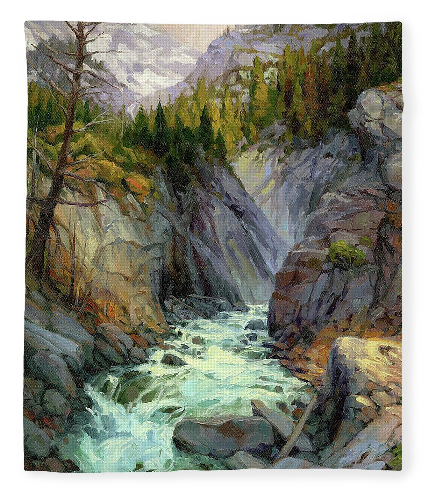 River Fleece Blanket featuring the painting Hurricane River by Steve Henderson