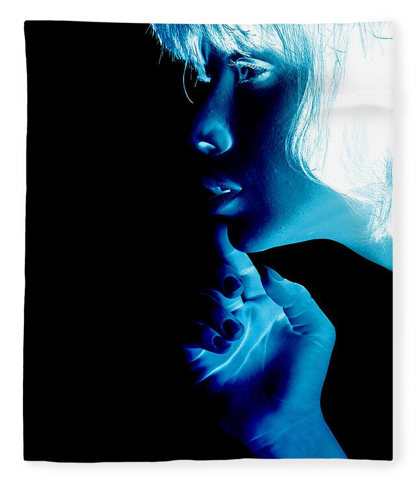 'visual Art Pop' Collection By Serge Averbukh Fleece Blanket featuring the photograph Inverted Realities - Blue by Serge Averbukh
