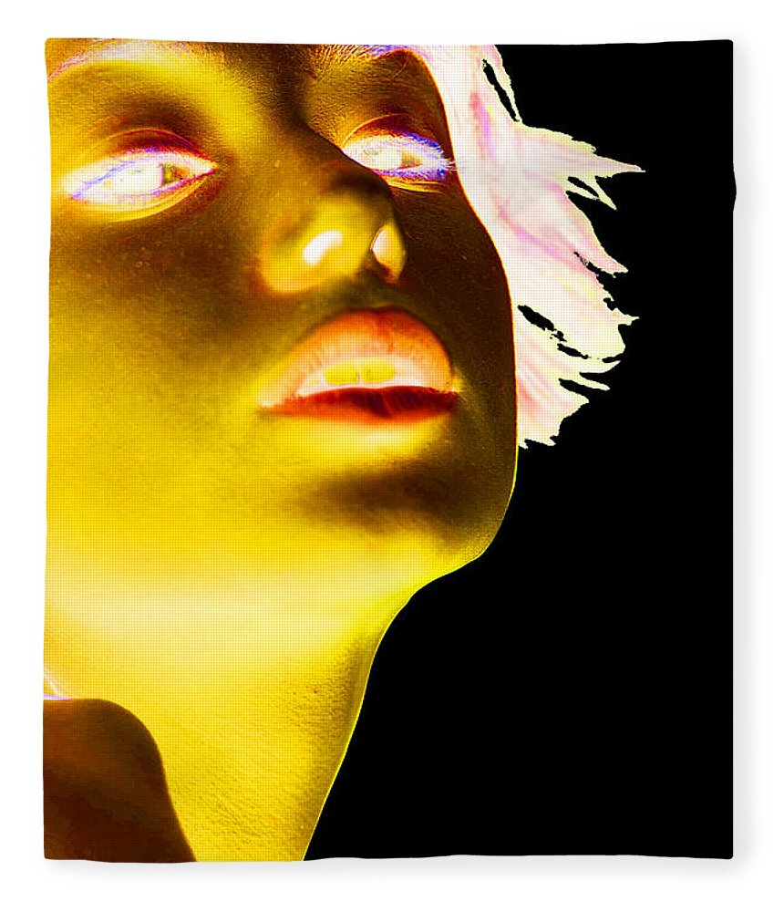 'visual Art Pop' Collection By Serge Averbukh Fleece Blanket featuring the photograph Inverted Realities - Yellow by Serge Averbukh