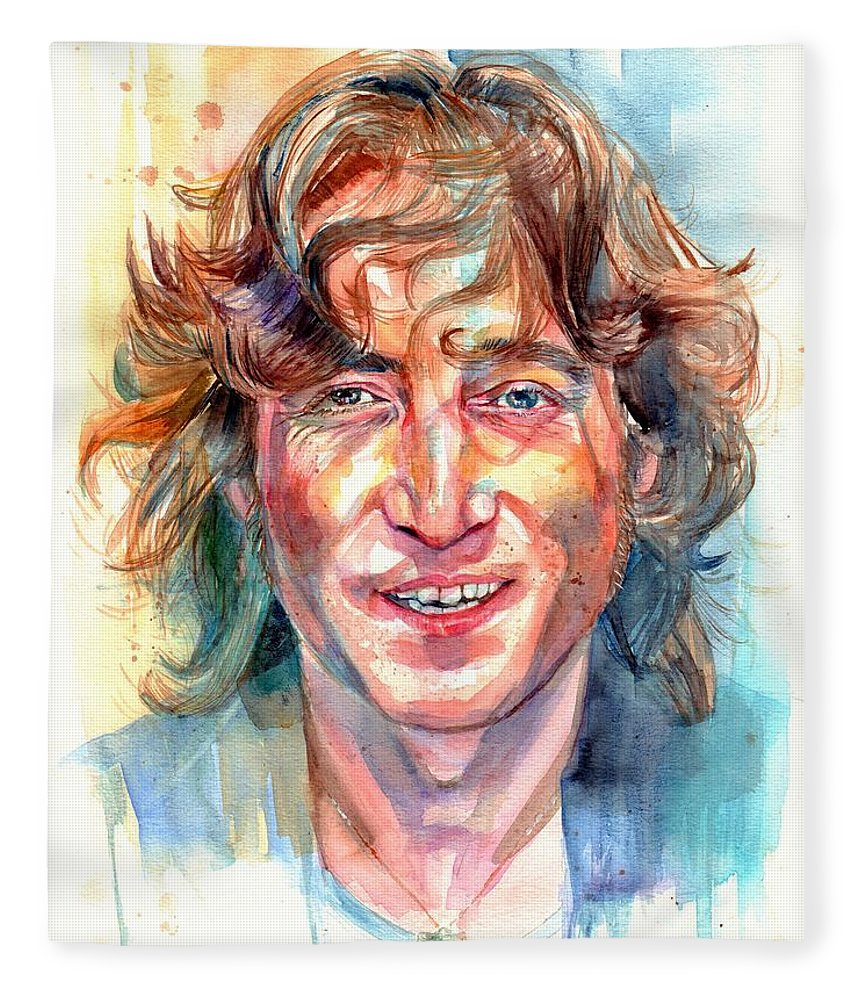 John Lennon Fleece Blanket featuring the painting John Lennon portrait by Suzann Sines