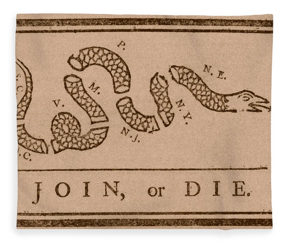 Join Or Die Fleece Blanket featuring the mixed media Join Or Die by War Is Hell Store