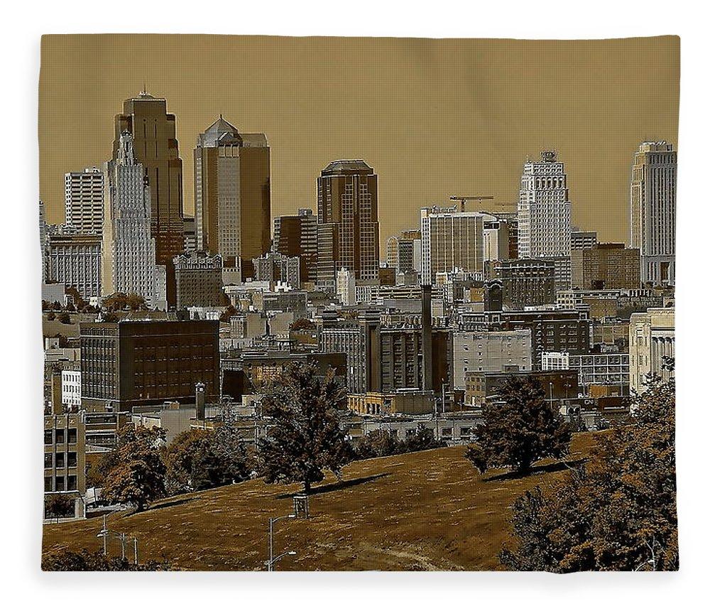 Architecture Fleece Blanket featuring the digital art Kansas City Skyline by Anthony Dezenzio