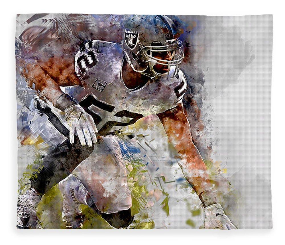 Khalil Mack Fleece Blanket featuring the mixed media Khalil Mack by Marvin Blaine