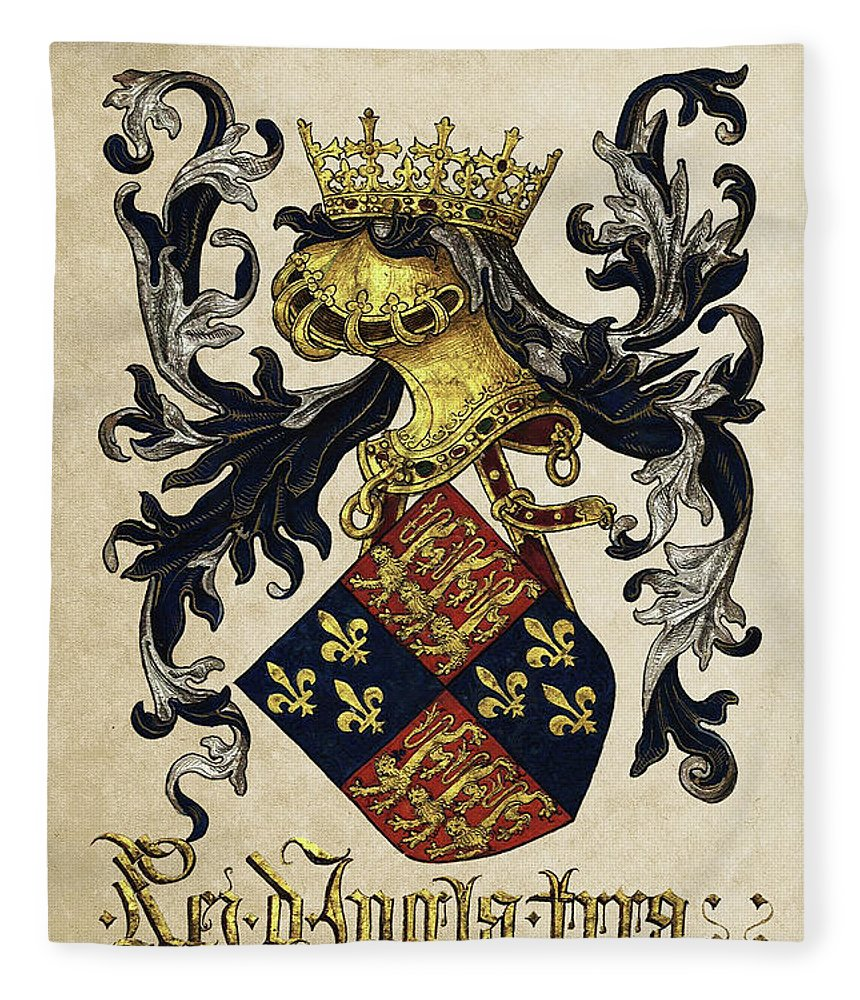 'roll Of Arms� Collection By Serge Averbukh Fleece Blanket featuring the photograph King Of England Coat Of Arms - Livro Do Armeiro-mor by Serge Averbukh
