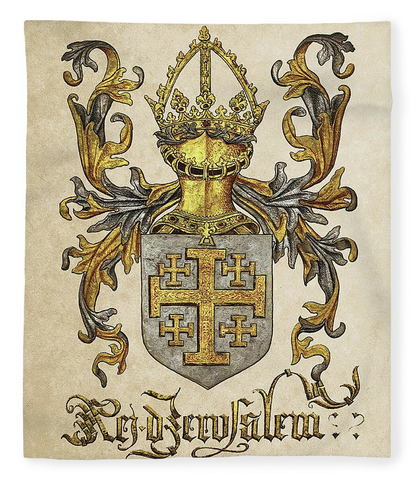 'roll Of Arms� Collection By Serge Averbukh Fleece Blanket featuring the photograph Kingdom Of Jerusalem Coat Of Arms - Livro Do Armeiro-mor by Serge Averbukh